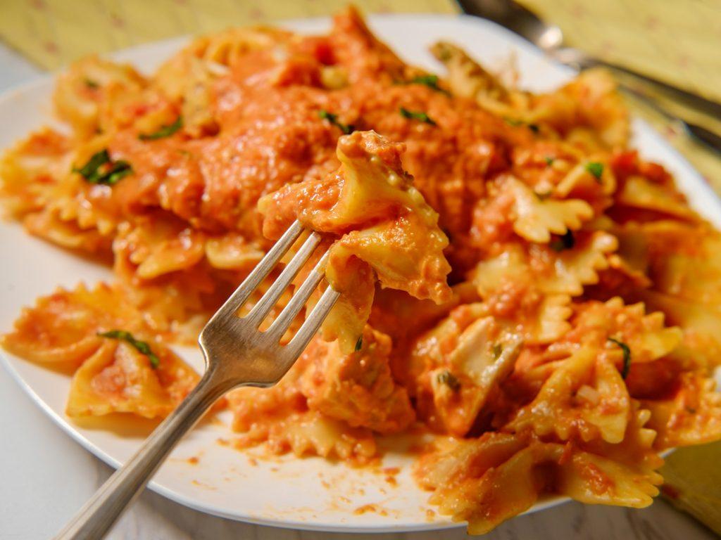 Healthy pumpkin Alfredo pasta